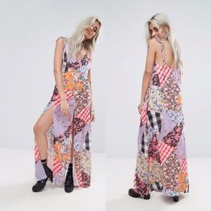 Jaded London Mix Print Maxi With Bow Tie Shoulder